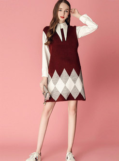 Solid Color Lapel Single-breasted Blouse & Plaid Sleeveless Knitted Dress