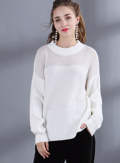 White Lantern Sleeve Hollow Out Loose Sweater