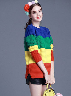 Fashion Contrast Color O-neck Loose Sweater