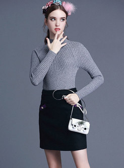 Brief Solid Color Half Turtle Neck Slim Sweater