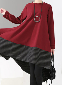 O-neck Long Sleeve Plus Size Splicing Shift Dress