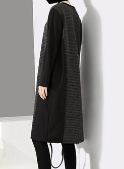 Color-blocked O-neck Splicing Knitted Loose Dress