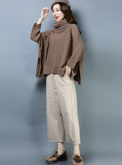 Casual Solid Color Long Sleeve Asymmetric Sweater