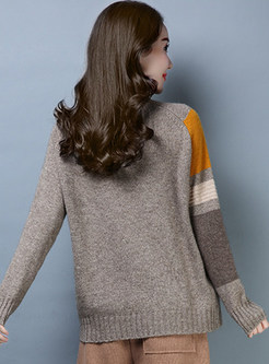 Turtle Neck Wool Color-blocked Pullover Sweater