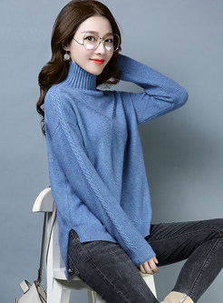 Brief High Neck Loose Irregular Slit Sweater