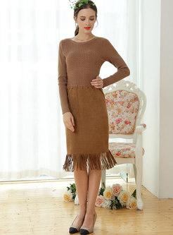 Stylish Patchwork O-neck Tassel Patch Sheath Dress