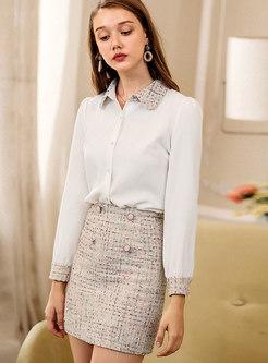 Winter Beige-white Tweed High Waist Mini Skirt