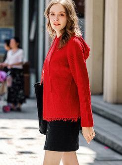 Fashion Red Solid Hooded Long Sleeve Drawstring Hoodies