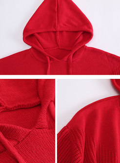 Fashion Red Solid Hooded Long Sleeve Drawstring Hoodies
