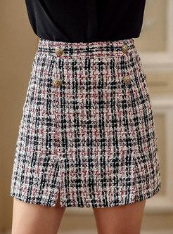 Stylish Tweed Plaid Casual Mini Skirt With Split