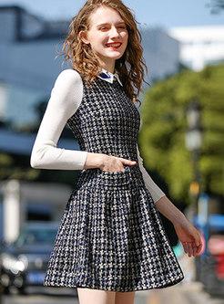 Trendy Deep Blue Peter Pan Collar Splicing Velvet Dress