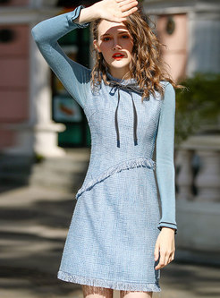 Stylish Winter Tie-neck Bowknot Velvet Long Sleeve Dress
