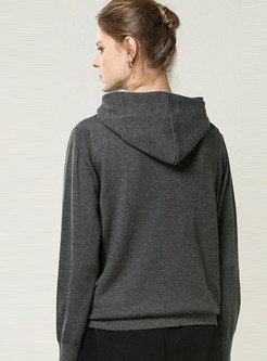 Casual Solid Color Hooded Pullover Sweater