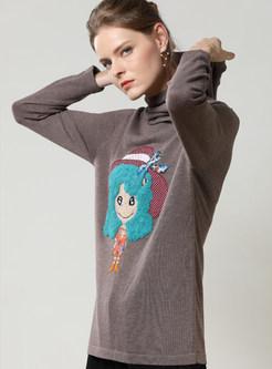 Cute Cartoon Print Hooded Pullover Sweatshirt