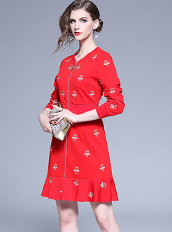Bee Embroidered Zippered Skater Dress