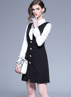 Lapel Bowknot Tied Blouse & V-neck Solid Color Dress