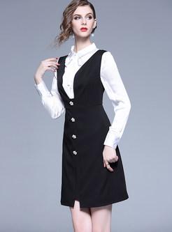 Lapel Bowknot Tied Blouse & V-neck Solid Color Dress