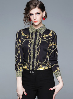 Turn Down Collar Print Long Sleeve Blouse