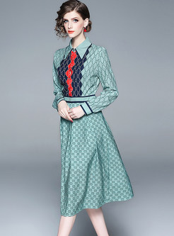 Fashion Color-blocked Lapel A Line Dress
