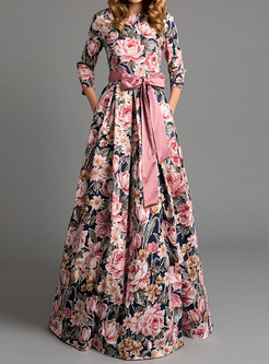 Bohemian Elegant Bowknot Waist Floral Maxi Dress