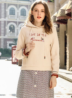Stylish Winter Apricot Hooded Thicken Hoodies With Drawstring