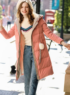 Orange Hooded Zipper-front Long Sleeve Down Coat