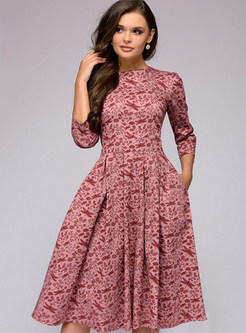 Three Quarters Sleeve Waist Print Skater Dress
