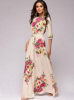 Fashion O-neck Lace Sleeve Casual Print Maxi Dress