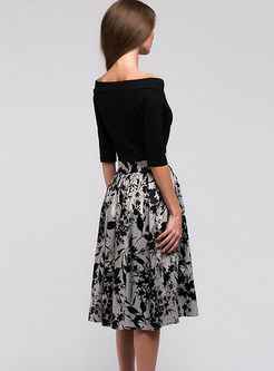 Slash Neck Splicing High Waist A Line Dress