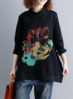 Winter Crew-neck Print Velvet Plus Size Hoodies