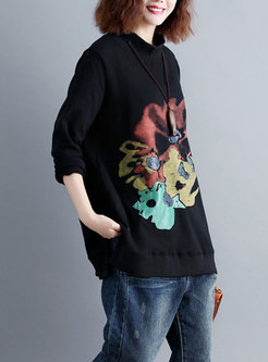 Winter Stand Collar Print Plus Size Hoodies
