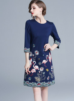 Stylish O-neck Slim Print Knee-length A Line Dress