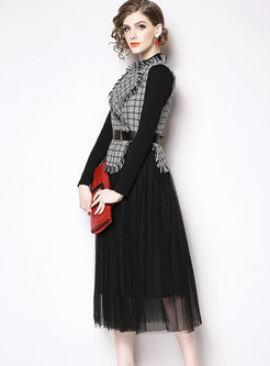 Notched Plaid Fringed Mesh A Line Suits Dress