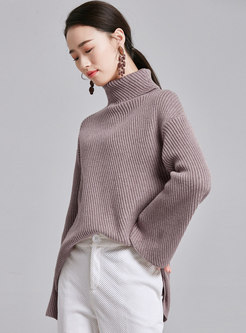 Solid Color Flare Sleeve High Neck Loose Sweater