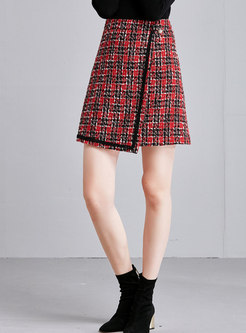 Winter Grid High Waist Asymmetric Mini Skirt