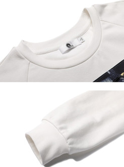 Casual O-neck Long Sleeve Print Pullover Sweatshirt
