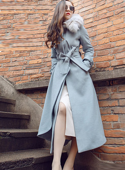 Light Blue Tie-waist Big Hem Overcoat With Fur Collar