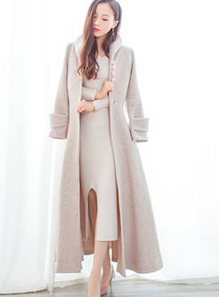 Turn Down Collar Long Sleeve Cashmere Overcoat
