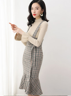 Solid Color Knitted TOP & Strap Mermaid Sheath Skirt