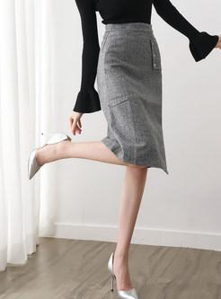 High Waist Easy-matching Knee-length Skirt