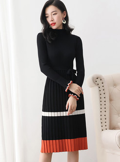 Standing Collar Color-blocked Knitted Slim Dress