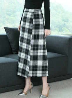 Winter High Waist Thicken Black-white Plaid Maxi Skirt