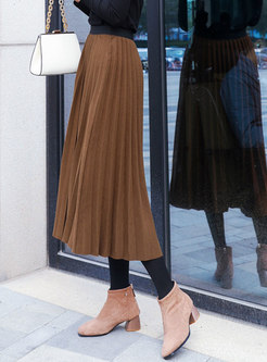 Fashion Brown High Waist Pleated Hairy Skirt