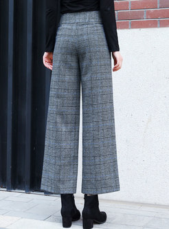 Casual Blue High Waist Grid Straight Pants