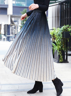 Winter Chic Gradient Striped Velvet Maxi Skirt