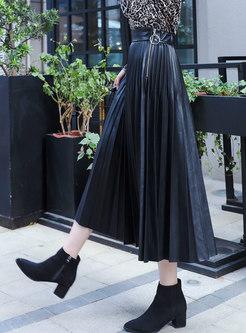 Stylish PU Black Autumn A Line Maxi Skirt