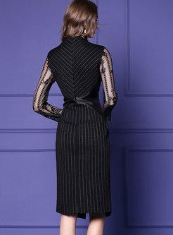 Stylish Black V-neck Striped Lace Paneled Split Dress