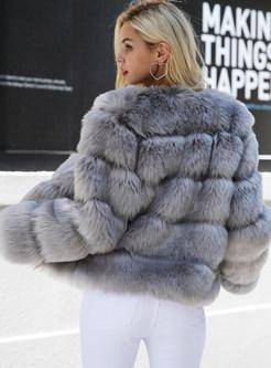 V-neck Long Sleeve Slim Short Shearling Coat