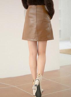Fashion High Waist PU Mini A Line Skirt