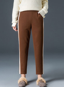 Casual Elastic Waist Thick Long Pencil Pants